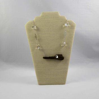 Collier bois flotté et cristal de roche