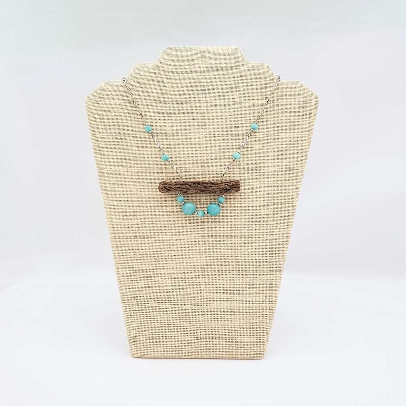 collier en bois flotté et amazonite